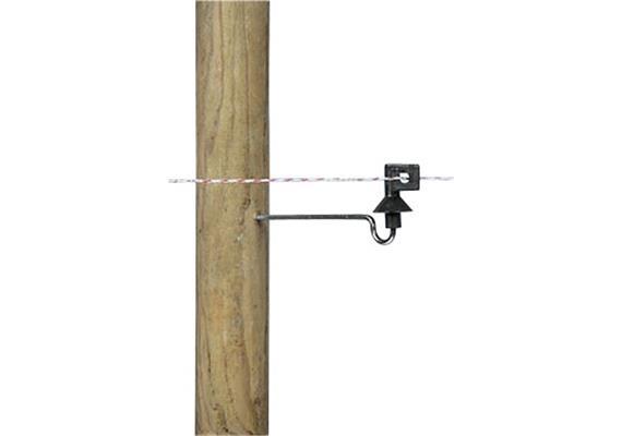 Abstandisolator Gallagher schwarz mit Abstandstütze ca 200 und Holzgewinde 10Stk.