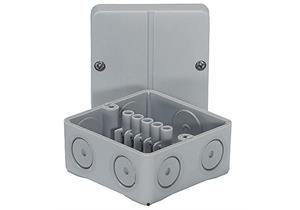 Abzweigdose AP IP55 5x2,5mm2 grau, mit Klemmen 80 x 80 x 50mm