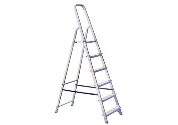 Aluminium Stufenstehleiter, Haushaltleiter, mit 6-Stufen - AKTION