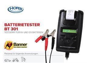 Batterietester BT 301 (Banner) für 6V+12 Volt Batterien mit integriertem Drucker