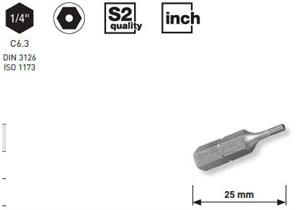 """Bit Kraftwerk 1/4"""" Innensechskant m. Bohrung Grösse 3/32"""", Länge 25mm, 1Pack a 5Stk."""