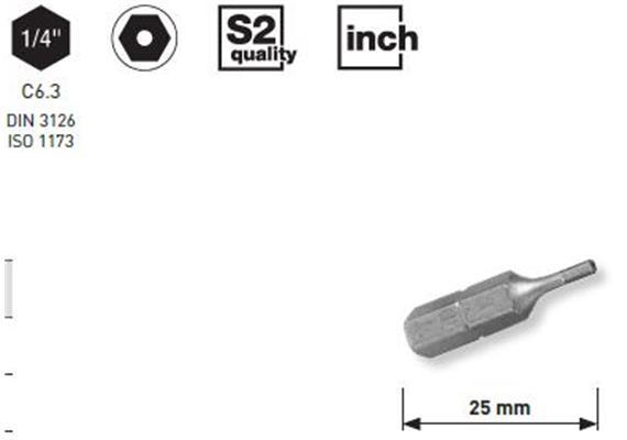 """Bit Kraftwerk 1/4"""" Innensechskant m. Bohrung Grösse 7/64"""", Länge 25mm, 1Pack a 5Stk."""