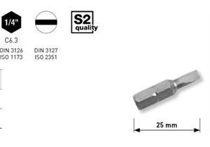 """Bit Kraftwerk 1/4"""" Schlitz Grösse 6.5 x 1.2mm, Länge 25mm, 1Pack a 5Stk."""