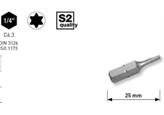 """Bit Kraftwerk 1/4"""" TORX Grösse TX 8, Länge 25mm, 1Pack a 5Stk."""