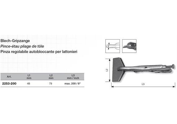 """Blech-Gripzange 8"""" Backenbreite 79 L 200mm"""