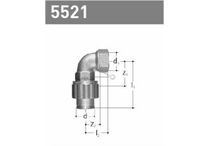 Bogen 90° mit IG classic aus Rotguss mit Bördelverschraubung 1/2 - 20
