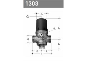 """Druckreduzierventil 2 - 6 bar JRG mit Filter 1/2 DN15, 3/4"""" AG ohne Verschraubungen 1303"""