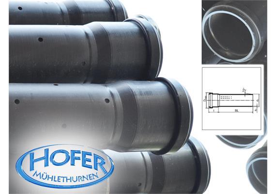 HDPE Sickerrohre gelocht L=5m NW 125 Ø125 x 4.8mm angemufft ohne Dichtung, SN4