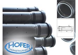 HDPE Sickerrohre gelocht L=5m NW 80 Ø90 x 3.5mm angemufft ohne Dichtung, S12.5
