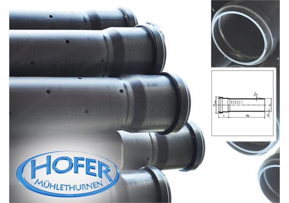 HDPE Sickerrohre gelocht L=6m NW 100 Ø110 x 4,2mm Muffe inkl. Dichtung, SN4, S12.5 SDR26