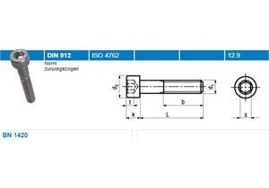 Inbus Zylinderschraube mit Teilgewinde BN1420 dacromet 12,9 M6 x 45