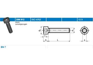 Inbus Zylinderschrauben mit Vollgewinde BN7 schwarz 12,9 M4 x 20