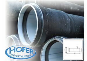 Kanalrohr HDPE S12,5 SDR26 ND4 gemufft mit Dichtung L 5m Ø 125 x 4,9mm schwarz, innen hell