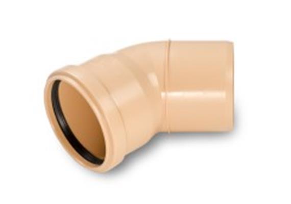 Kanalrohrbogen PP-HM SN8 S 13.3 Ø 110mm 45° gespritzt mit Dichtung füllstofffrei
