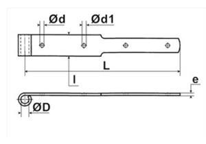 Klobenband Stahl verzinkt abgesetzt ohne Kloben L 700 45/5 für Dorn Ø 14mm