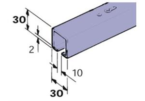 Laufschiene C EKU Porta 60, 30 x 30 mm, Flügelgewicht bis 100 kg aus Stahl verzinkt