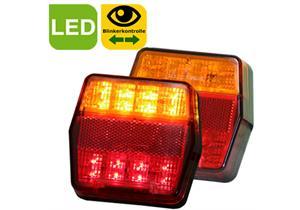 LED Schluss-,Blink- und Bremsleuchte rot/gelb 100x95x32 12V mit Kabel