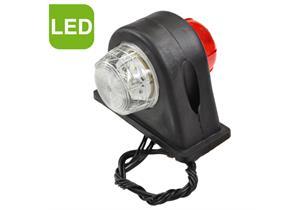 LED Umrissleuchte rot/weiss 12/24V 85x108x90mm m. Gummisockel und Kabel
