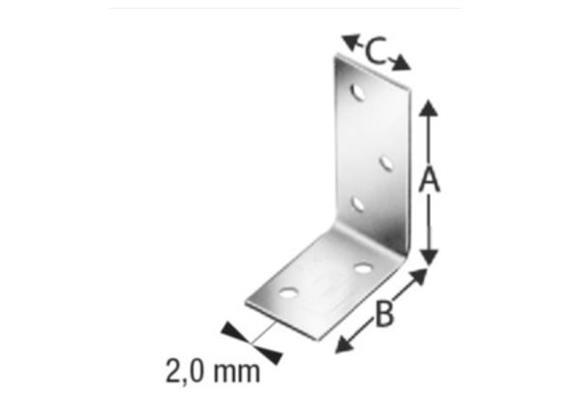 Lochplattenwinkel BMF L 60 H 60 B 50 S 2 mm
