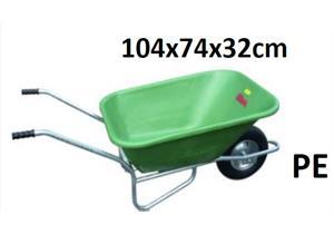 Muldenbähre GEBA 135 Liter Polyethhylen grün, UV beständig winterfest mit Pneurad D=400mm