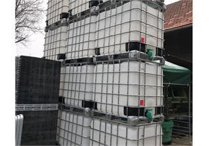 Occ. 1000l IBC Container PE-HD mit Stahltransportgestell, gewaschen, stapelbar