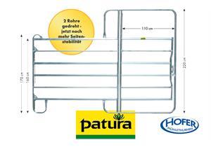 PATURA Panel-6 mit Tor, Breite 2,40 m, Höhe 2,20 m, für Pferd, Rind,
