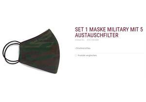 Set 1 Membranmaske camouflage inkl. 5 Austauschfilter 60° waschbar