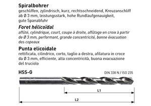 Spiralbohrer HSS - G DIN 338 - N geschliffen Ø 3.5 L 70mm