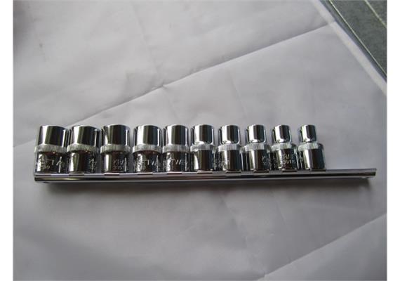 """Steckschlüsseleinsätze KW 1/2"""" Combi 10-11-12-13-14-15-16-17-18 + 19mm auf Schiene"""