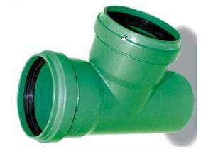 T-Stück 90° PP KG2000 NW 160/160 mit Dichtung grün