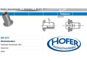 TUBTARA Blindnietmuttern BN4574 Flachkopf offen ALU M8 D11/16 L 16 Klemmlänge 0,5-3mm