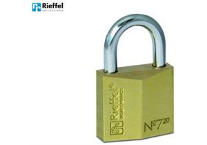 Vorhängeschloss Rieffel 7/20, Messingkörper m. gehärtetem Stahlbügel + 2 Schlüssel