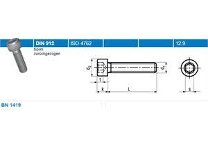 Zylinderschrauben mit Vollgewinde BN1419 dacromet 12,9 M6 x 20